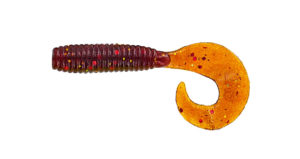 Gary yamamoto - grub single curly tail - 3 inch - 30-20-284 - Rootbeer with Red & Gold Flake