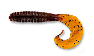Gary yamamoto - grub single curly tail - 4 inch - 40-20-286 - Pumpkin Dark with Large Black Flake
