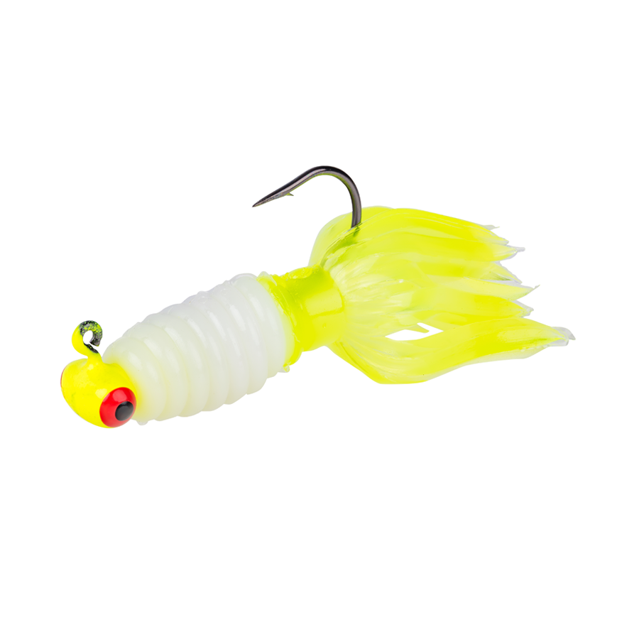 Strike King Lures – Mr. Crappie Panfish – Sausage Head with Thunder Body - 1/8oz - MRCSH116-186 - Refrigerator White