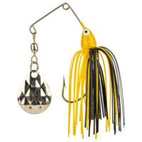 Strike king Lures - Crappie Spinnerbait Mini King Spinnerbait - 1/8oz - MK-77G - Yellow Head Black Yellow Skirt