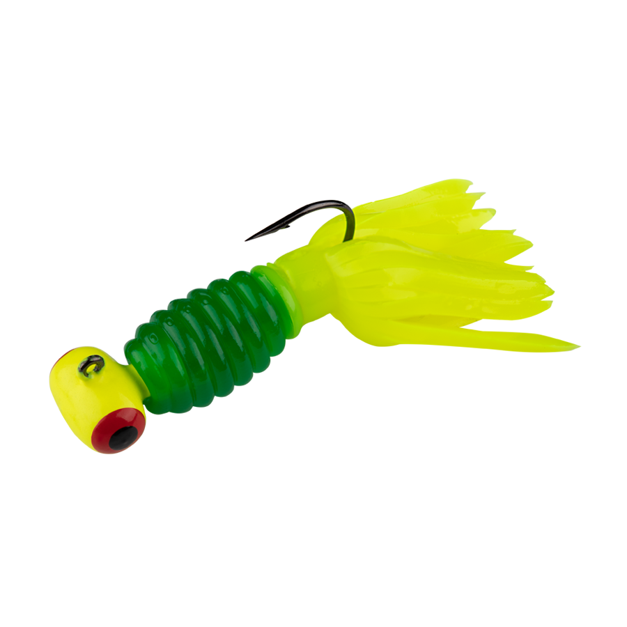 Strike King Lures – Mr. Crappie Panfish – Sausage Head with Thunder Body - 1/8oz - MRCSH116-247 - Lime-A-Nator Chart Head