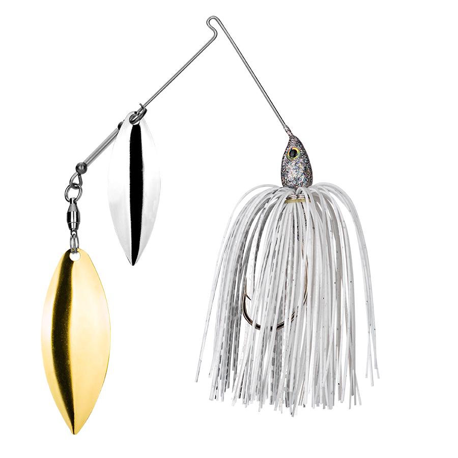 Strike King Lures – Spinnerbaits – Double Willow – Tour Grade - 1/2oz - TGSB12WW-292 - White Silver