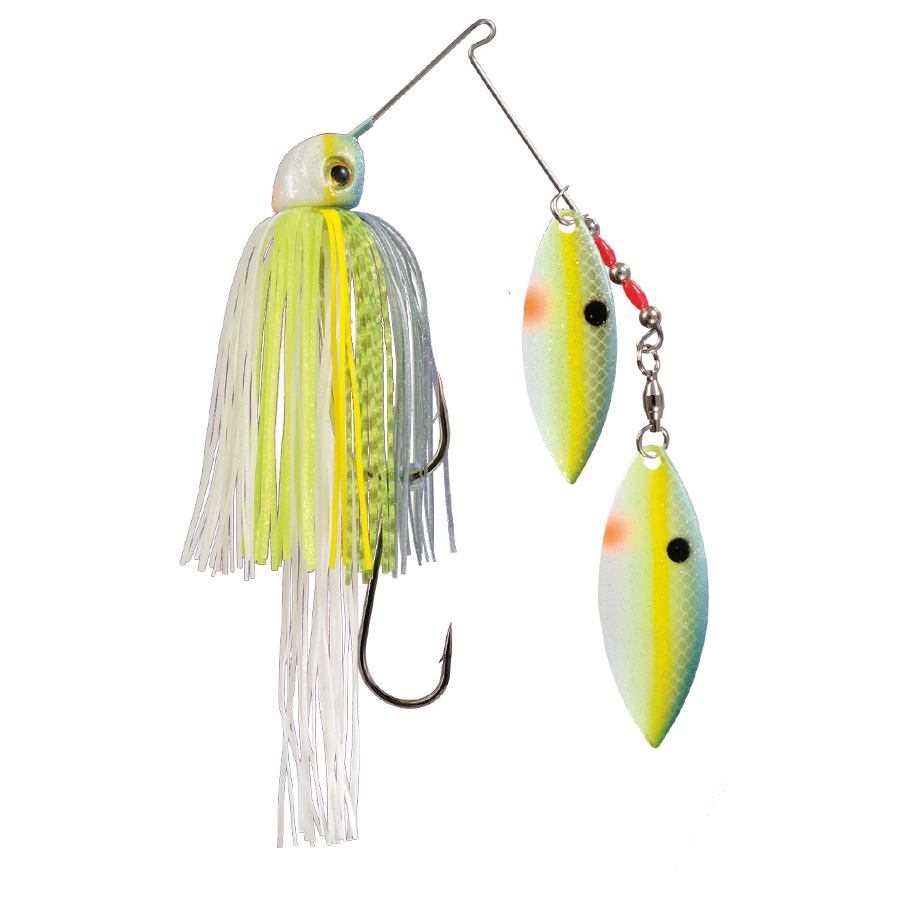 Strike King Lures – Spinnerbaits – Double Willow – Painted Blade - 1/2oz - TGSB12WW-538P - Chartreuse Sexy Shad