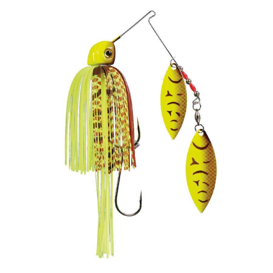 Strike King Lures – Spinnerbaits – Double Willow – Painted Blade - 1/2oz - TGSB12WW-562P - Chartreuse Belly Craw