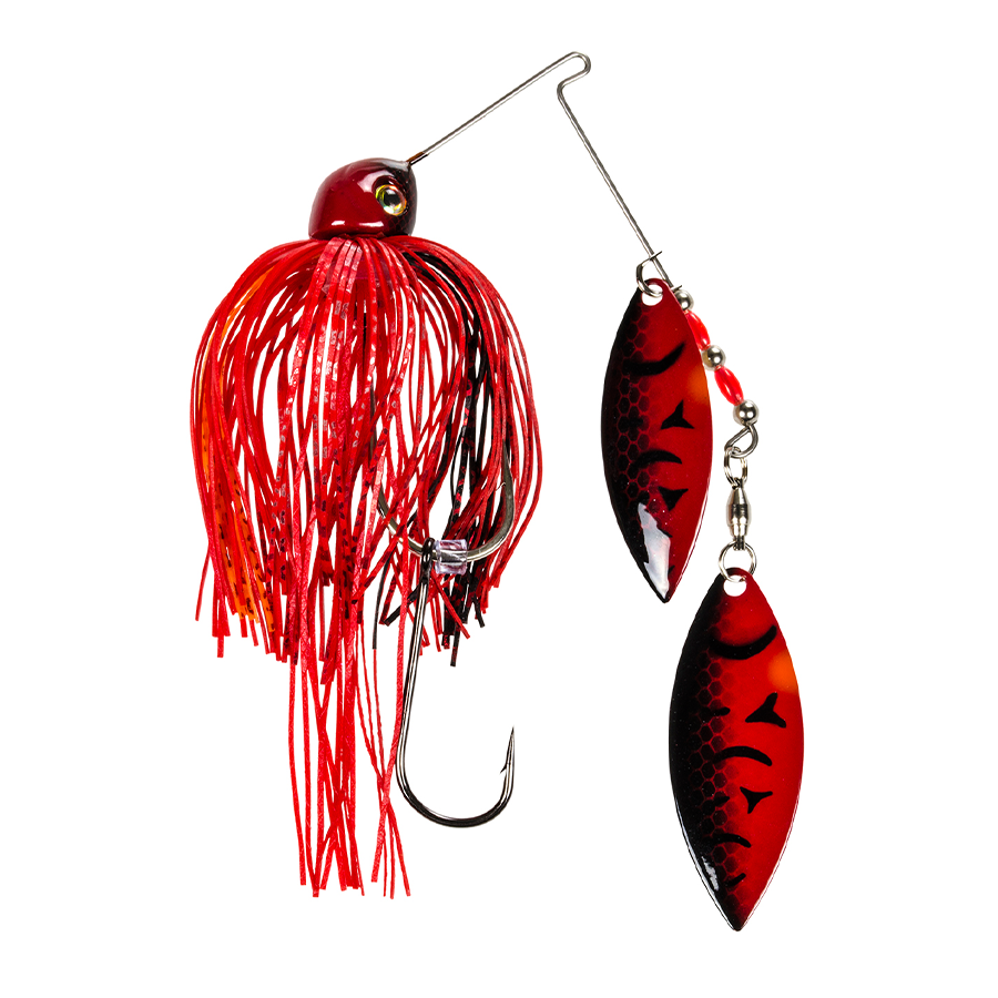Strike King Lures – Spinnerbaits – Double Willow – Painted Blade - 1/2oz - TGSB12WW-648P - Chili Craw