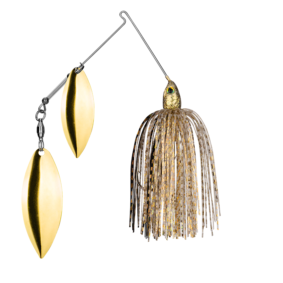 Strike King Lures – Spinnerbaits – Double Willow – Tour Grade - 3/8oz - TGSB38WW-215 - Gold Shiner