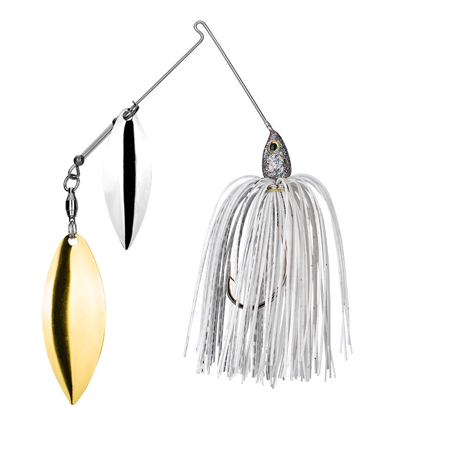 Strike King Lures – Spinnerbaits – Double Willow – Tour Grade - 3/8oz - TGSB38WW-292 - White Silver