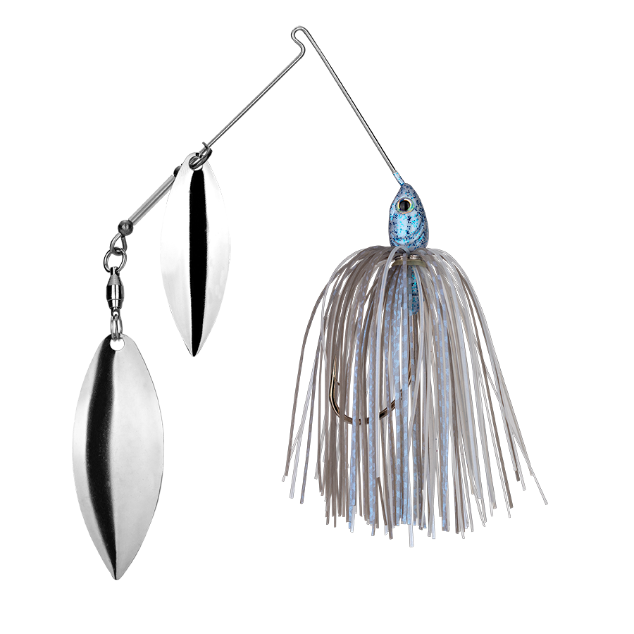 Strike King Lures – Spinnerbaits – Double Willow – Tour Grade - 3/8oz - TGSB38WW-45 - Blue Glimmer