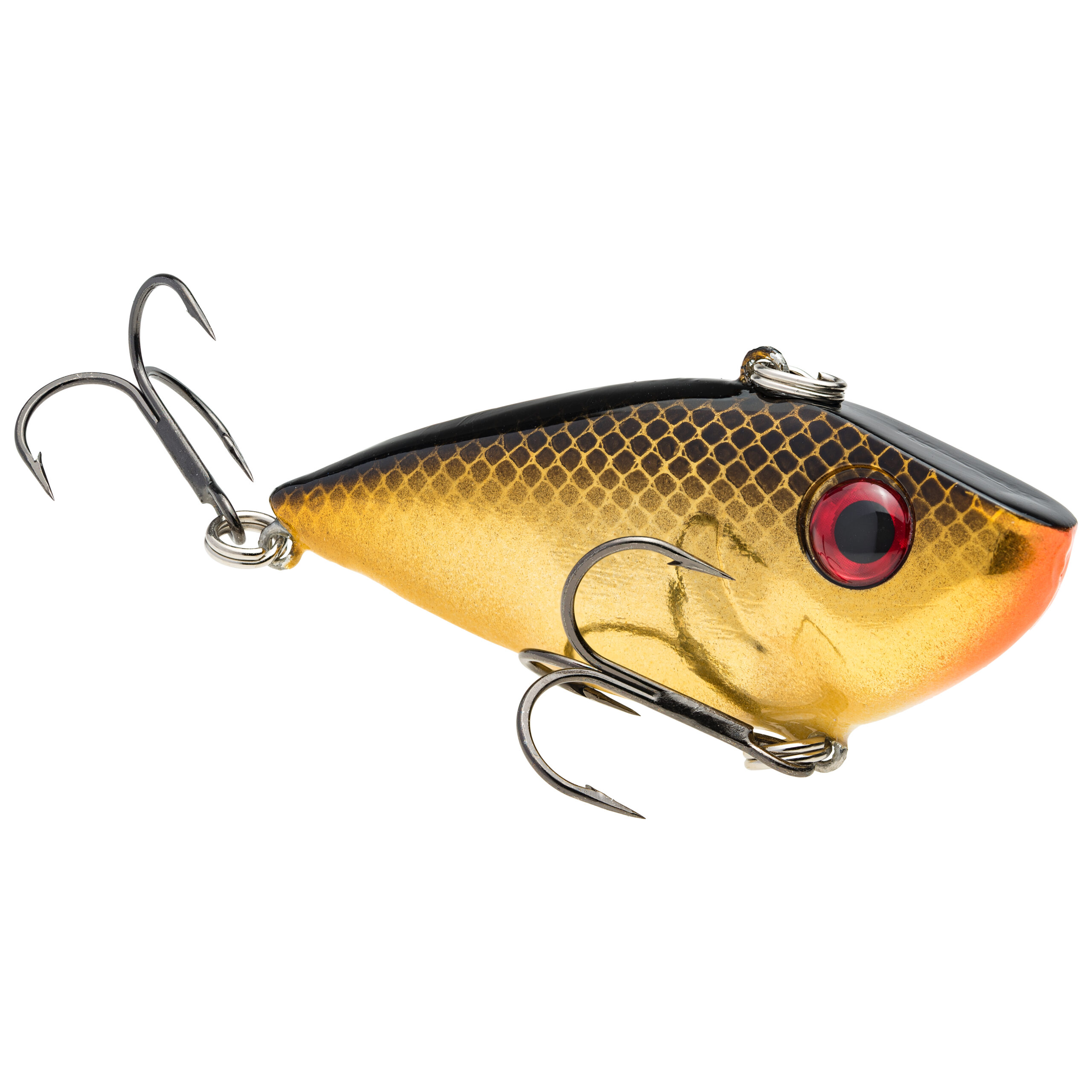 Strike King Lures – Crankbaits – Lipless Rattle Trap – Red Eyed Shad - 1/4oz - REYESD14-406 - Gold Blk Back
