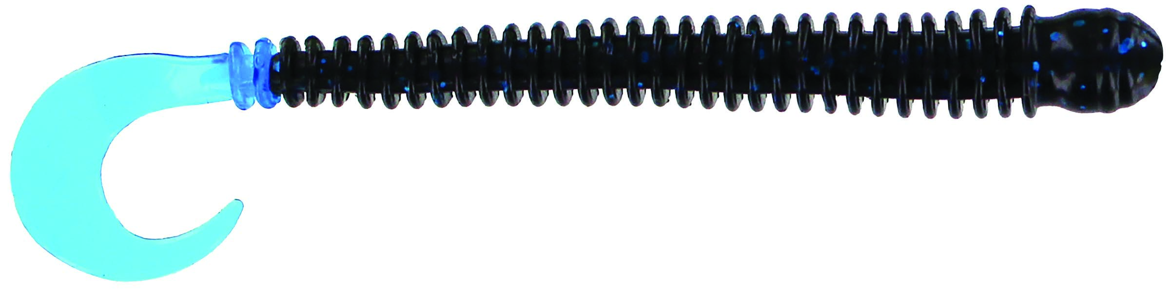 Big Bite Baits - Disc Ring Worm - 4 inch - RW-418 - BLACK BLUE METAL FLAKE BLUE TAIL